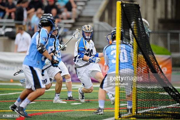 John Haus of the Charlotte Hounds drives to the net against the Ohio Machine in the first quarter at Selby Stadium on May 16 2015 in Delaware Ohio...