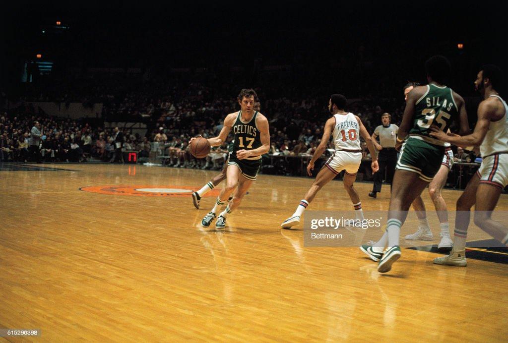 John Havlicek Dribbling the Basketball : News Photo