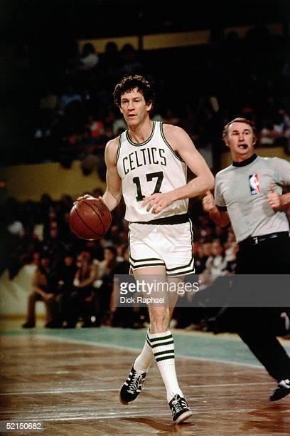 John Havlicek Boston Celtics dribbles up court during an NBA game in 1963 at the Boston Garden in Boston, Massachusetts. NOTE TO USER: User expressly...