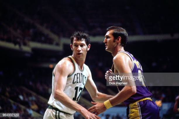 John Havlicek of the Boston Celtics defends Jerry West of the Los Angeles Lakers circa 1972 at the Boston Garden in Boston Massachusetts NOTE TO USER...