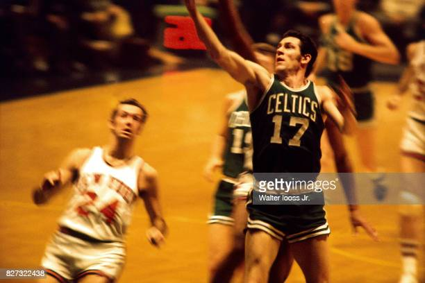 John Havlicek of the Boston Celtics drives to the basket against the New York Knicks at Madison Square Garden in New York New York circa 1972 NOTE TO...