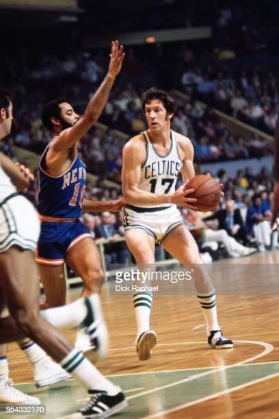 John Havlicek of the Boston Celtics handles the ball against the New York Knicks circa 1970 at the Boston Garden in Boston Massachusetts NOTE TO USER...