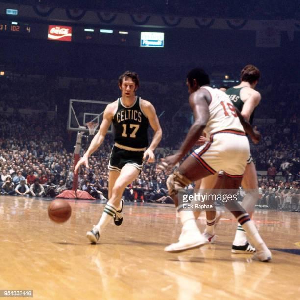 John Havlicek of the Boston Celtics handles the ball against the New York Knicks circa 1970 at Madison Square Garden in New York City New York NOTE...
