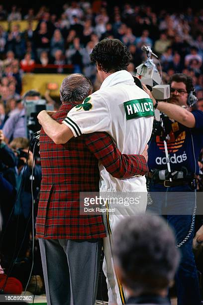 John Havlicek of the Boston Celtics is honored during halftime of his last game of professional basketball after 16 years with the Boston Celtics on...