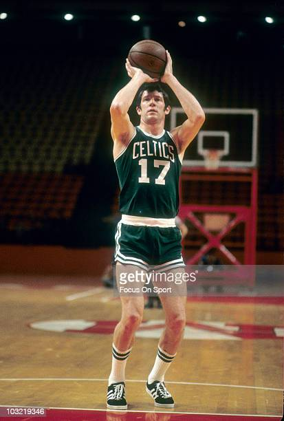 John Havlicek of the Boston Celtics shooting freethrows in pregame circa 1976 before an NBA basketball game against the Washington Bullets at the...