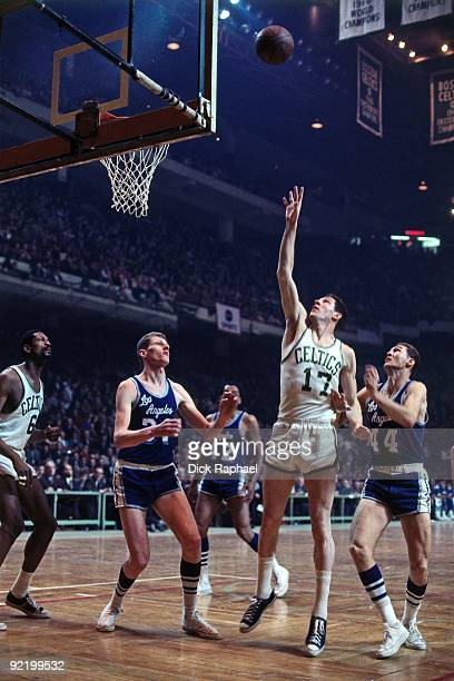 John Havlicek of the Boston Celtics shoots a layup against the Los Angeles Lakers during a game played in 1967 at the Boston Garden in Boston...