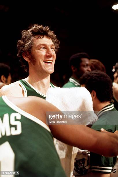 John Havlicek of the Boston Celtics smiles and towels off during a game played circa 1974 at the Boston Garden in Boston Massachusetts NOTE TO USER...