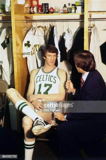 John Havlicek of the Boston Celtics speaks to the media after a game circa 1970 at the Boston Garden in Boston Massachusetts NOTE TO USER User...