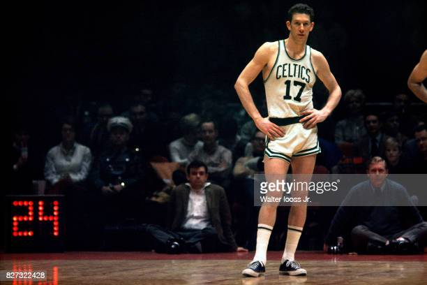 John Havlicek of the Boston Celtics stands on the court during a game at Boston Garden in Boston Massachusetts circa 1972 NOTE TO USER User expressly...