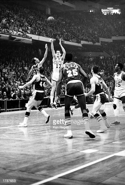 John Havlicek of the Boston Celtics takes a jumper against the Los Angeles Lakers during the NBA game at Boston Garden on January 1 1966 in Boston...
