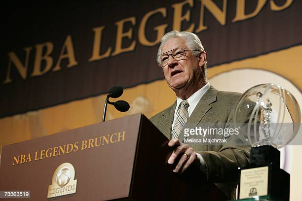 John Havlicek presents during a Red Auerbach tribute during the NBA Legends Brunch February 18 2007 at the Mandalay Bay Hotel Casino in Las Vegas...