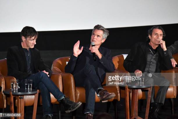 John Hawkes, Timothy Olyphant and Ian McShane speak onstage at HBO's 'Deadwood' FYC screening at Arclight Hollywood on May 15, 2019 in Los Angeles,...