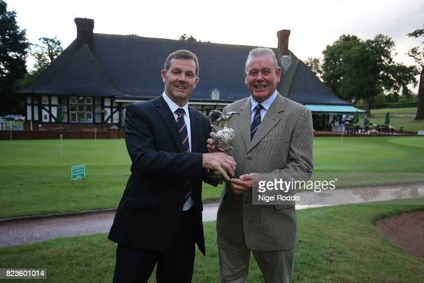 NOTTINGHAM ENGLAND JULY 27 John Hay and Rob Dennett of Waterlooville Golf Club pose for a picture after winning the PGA Super 60s Tournament on July...