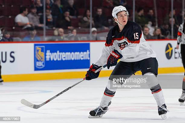 John Hayden of Team United States waits for a pass during the 2015 IIHF World Junior Hockey Championship game against Team Germany at the Bell Centre...