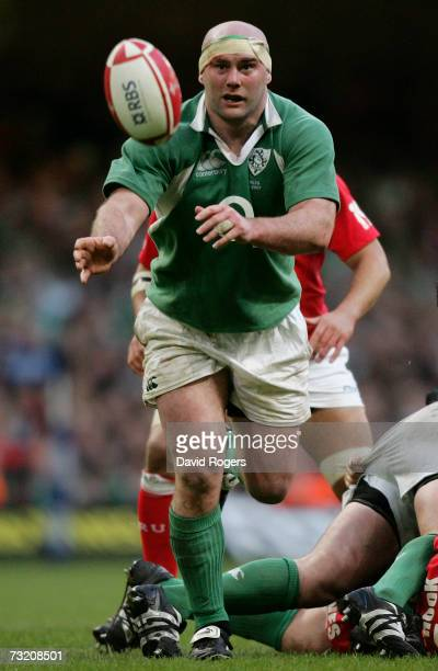 John Hayes of Ireland moves the ball during the RBS Six Nations Championship match between Wales and Ireland at the Millennium Stadium on February 4,...