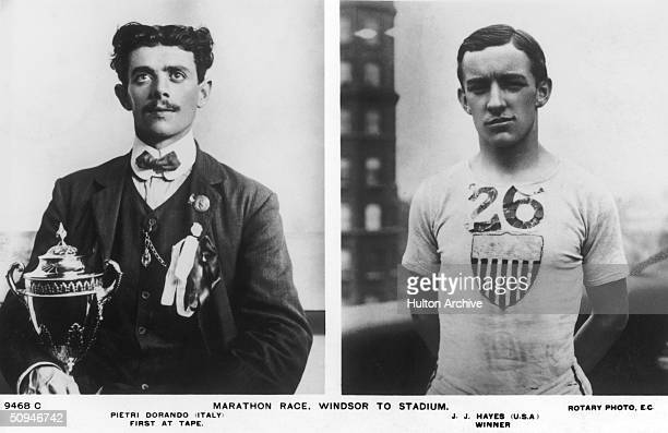 John Hayes of the USA, who won the Gold Medal in the Marathon at the 1908 London Olympics after Dorando Pietri of Italy was disqualified, 24th July...
