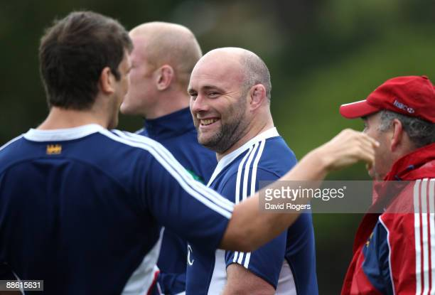 John Hayes the replacement Lions prop looks on during the British and Irish Lions training session held at Bishops School on June 22, 2009 in Cape...