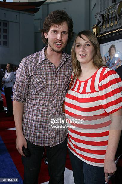 John Heder and wife Kristen Heder arrive at the Los Angeles Premiere of Hot Rod held at The Manns Chinese Theater on July 26 2007 in Hollywood...