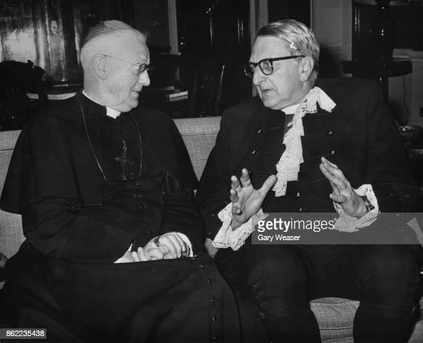 John Heenan the Archbishop of Westminster entertains Ronnie Selby Wright the Moderator of the General Assembly of the Church of Scotland at the...