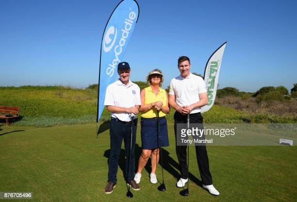 John Heggarty Captain of the PGA Helen Heggarty Ladies Captain of Royal Liverpool Golf Club and Ross Parker PGA Head of Sponsorship pose for a group...