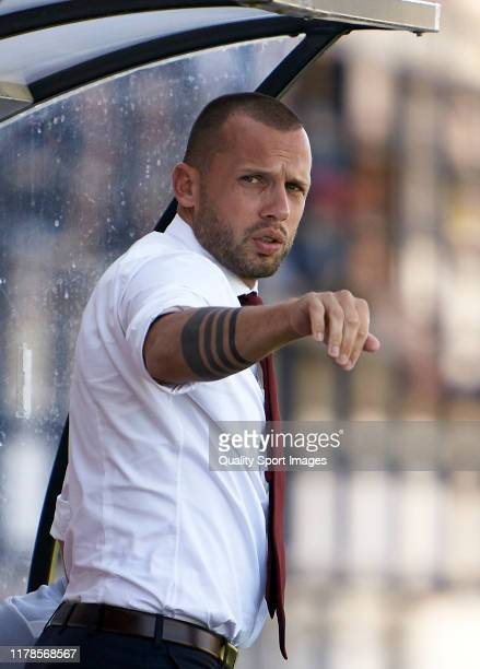 John Heitinga Head Coach of Ajax reacts during the UEFA Youth League match between Valencia CF and AFC Ajax at Estadio Antonio Puchades on October 02...