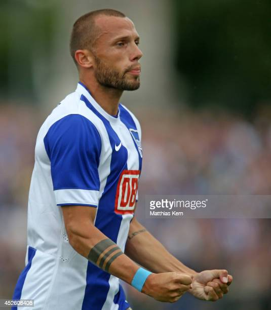 John Heitinga of Berlin jubilates after scoring the first goal during the pre season friendly match between Hertha BSC and PSV Eindhoven at Stadion...