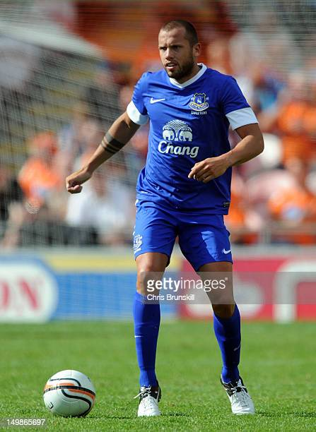 John Heitinga of Everton in action during the Preseason Friendly match between Blackpool and Everton at Bloomfield Road on August 5 2012 in Blackpool...