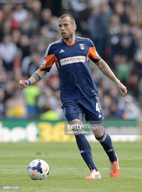 John Heitinga of Fulham during the Premier League match at Britannia Stadium on May 3 2014 in Stoke on Trent England