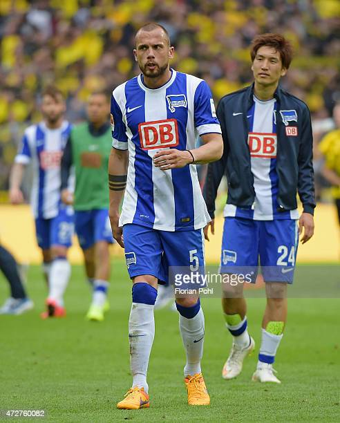 John Heitinga of Hertha BSC shows disappointment during the game between Borussia Dortmund and Hertha BSC on May 9 2015 in Dortmund Germany