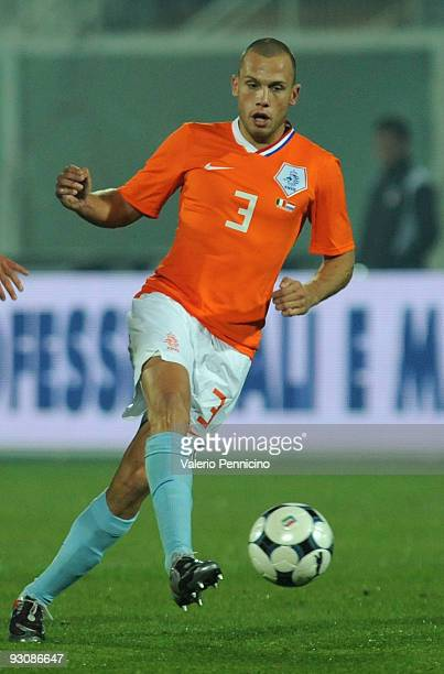 John Heitinga of Holland in action during the international friendly match between Italy and Holland at Adriatico Stadium on November 14 2009 in...