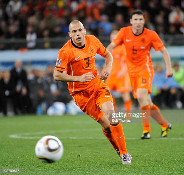 John Heitinga of the Netherlands during the 2010 FIFA World Cup South Africa Semi Final match between Uruguay and the Netherlands at Green Point...