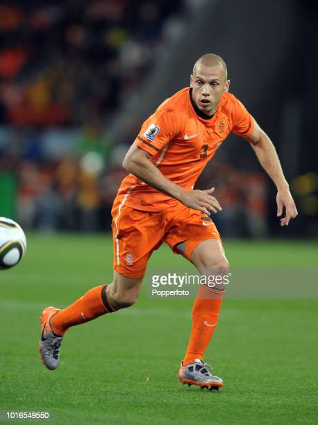 John Heitinga of the Netherlands in action during the 2010 FIFA World Cup Semi Final match between Uruguay and the Netherlands at Green Point Stadium...