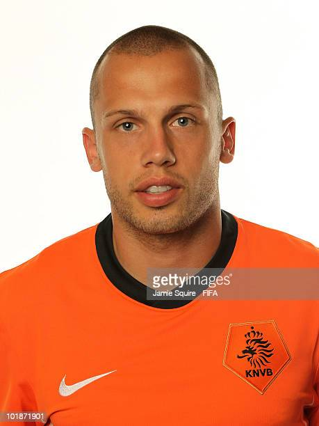 John Heitinga of The Netherlands poses during the official FIFA World Cup 2010 portrait session on June 7 2010 in Johannesburg South Africa