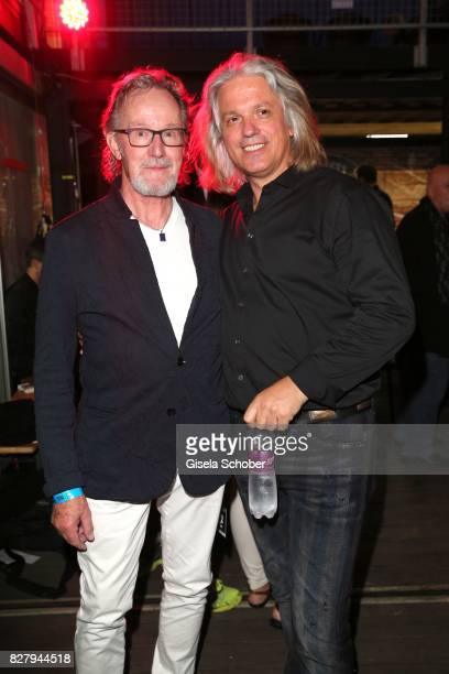 John Helliwell and Milos Malesevic husband of Karin Thaler attend the Man Doki Soulmates concert during tthe Sziget Festival at Budapest Park on...