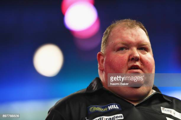 John Henderson of Scotland looks on during the second round match against Daryl Gurney of Northern Ireland on day ten of the 2018 William Hill PDC...