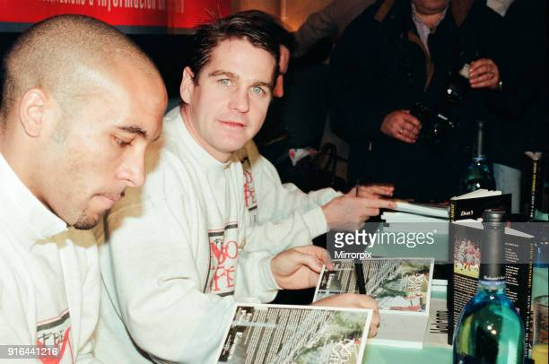 John Hendrie Middlesbrough Football Player 19901996 pictured signing copies of his autobiography at the Mojo Cafe Middlesbrough 4th December 1997