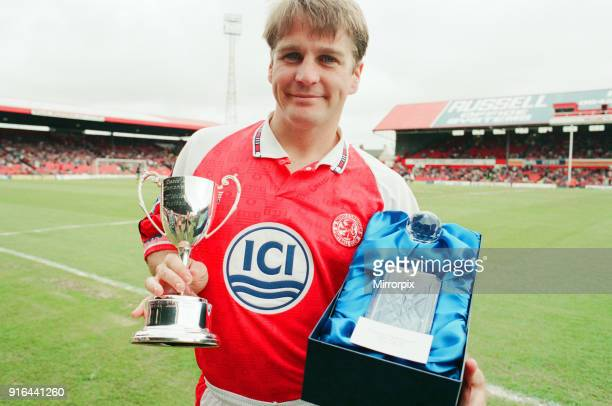 John Hendrie Middlesbrough Football Player 19901996 pictured with both his recent awards the ICI Player of the Year award and the David Bingham...