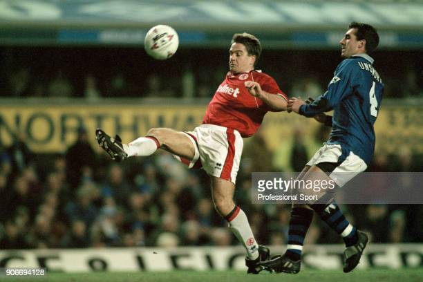 John Hendrie of Middlesbrough beats David Unsworth of Everton to the ball during an FA Carling Premiership match at Goodison Park on December 26 1995...