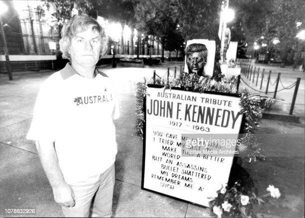 John Hennessey of Campbelltown stands an all night vigil beside a bust of John F Kennedy celebrating the 20th anniversary of his death November 21...