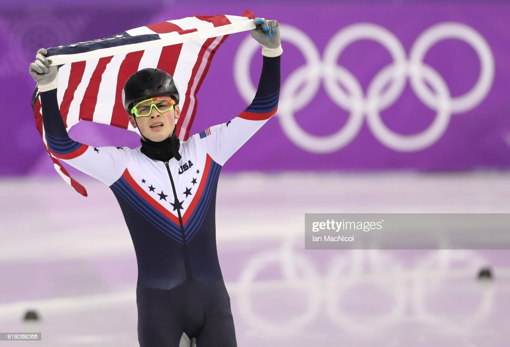 John Henry Krueger of United States celebrates second place in the Men's 1000m Final during the Short Track Speed Skating on day eight of the PyeongChang 2018 Winter Olympic Games at Gangneung Ice Arena on February 17, 2018 in Gangneung, South Korea.