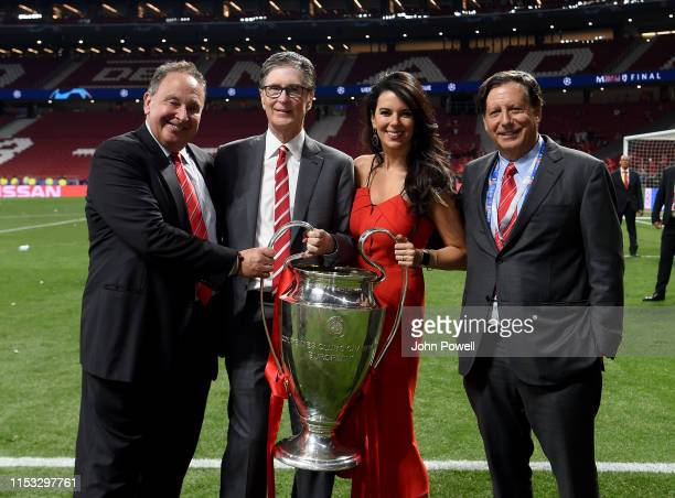 John Henry, Linda Pizzuti Henry and Tom Werner owner's of Liverpool lifting the UEFA Champions League trophy the UEFA Champions League Final between...