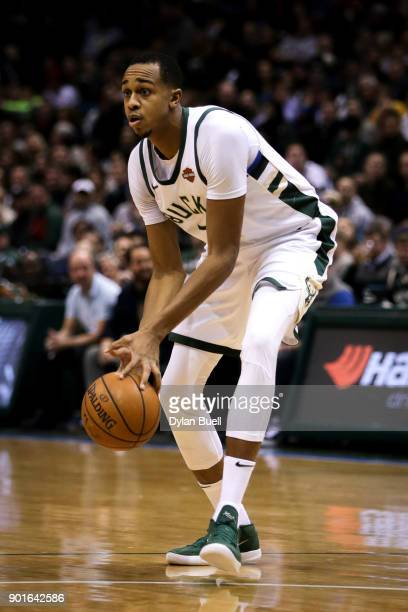 John Henson of the Milwaukee Bucks dribbles the ball in the first quarter against the Indiana Pacers at the Bradley Center on January 3 2018 in...