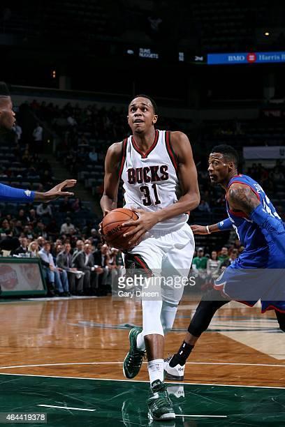 John Henson of the Milwaukee Bucks drives against the Philadelphia 76ers on February 25 2015 at BMO Harris Bradley Center in Milwaukee Wisconsin NOTE...
