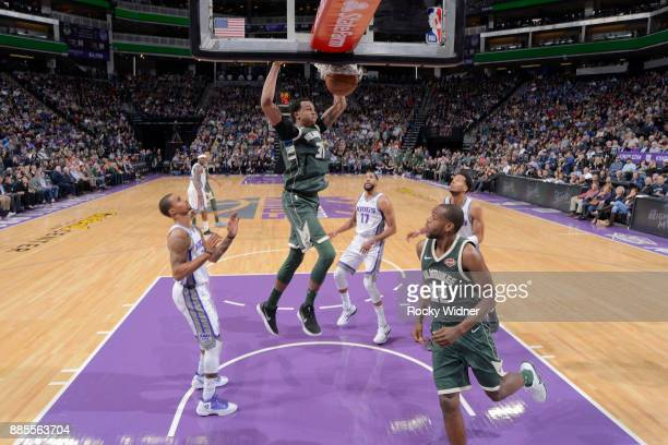 John Henson of the Milwaukee Bucks dunks against the Sacramento Kings on November 28 2017 at Golden 1 Center in Sacramento California NOTE TO USER...
