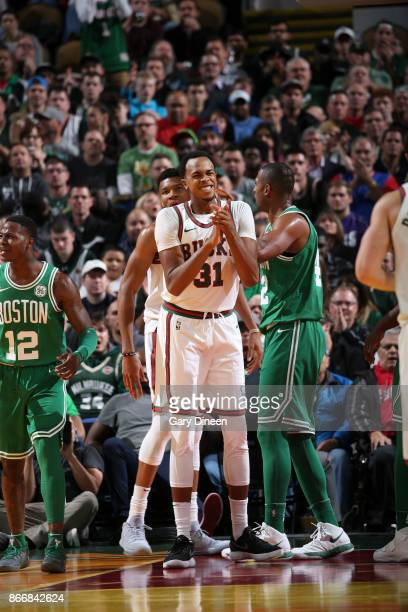 John Henson of the Milwaukee Bucks reacts against the Boston Celtics on October 26 2017 at the UWMilwaukee Panther Arena in Milwaukee Wisconsin NOTE...