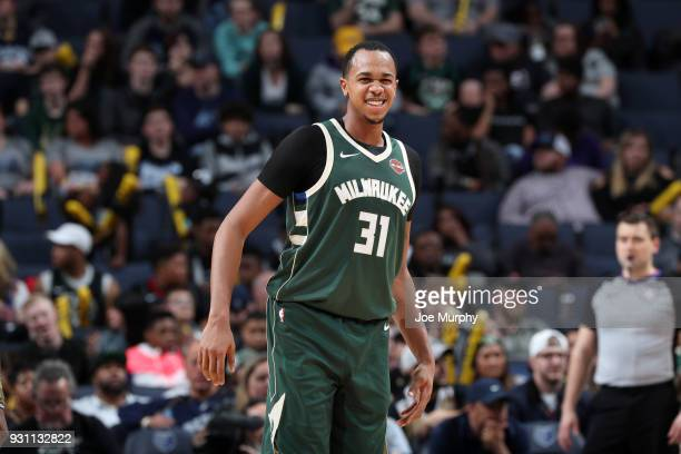John Henson of the Milwaukee Bucks reacts to a play during the game against the Memphis Grizzlies on March 12 2018 at FedExForum in Memphis Tennessee...
