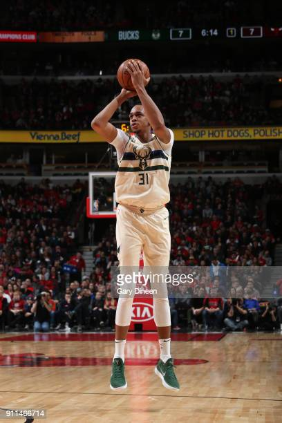John Henson of the Milwaukee Bucks shoots the ball against the Chicago Bulls on January 28 2018 at the United Center in Chicago Illinois NOTE TO USER...