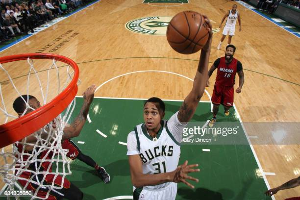 John Henson of the Milwaukee Bucks shoots the ball against the Miami Heat on February 8 2017 at the BMO Harris Bradley Center in Milwaukee Wisconsin...