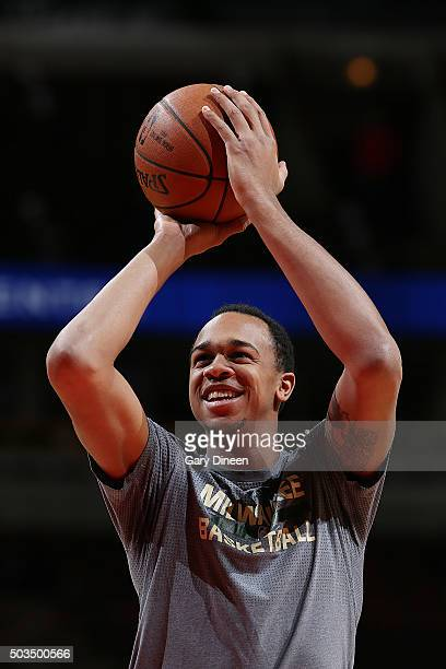 John Henson of the Milwaukee Bucks warms up before the game against the Chicago Bulls on January 5 2016 at the United Center in Chicago Illinois NOTE...
