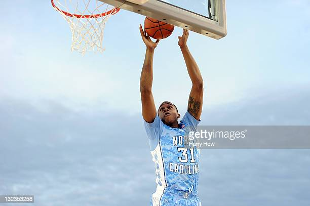 John Henson of the North Carolina Tar Heels goes up for a layup in the first half against the Michigan State Spartans during the NCAA men's college...